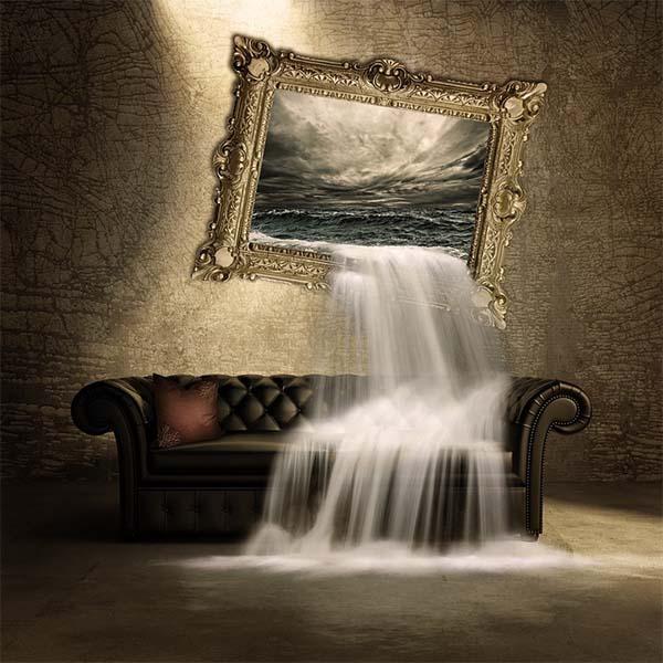 Treo tranh thác nước trong phòng khách rất tốt về mặt phong thủy, tuy nhiên cần tránh hướng nước chảy ra ngoài.