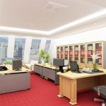 Bài trí bàn ghế văn phòng cần đảm bảo 4 nguyên tắc: Phía trước rộng rãi, phía sau kiên cố, bên trái cao lớn, bên phải thông thoáng.