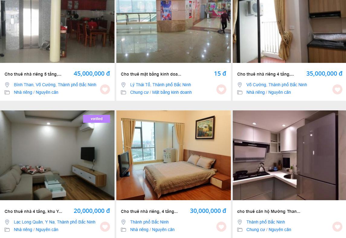 Tin rao vặt cho thuê nhà riêng thành phố Bắc Ninh