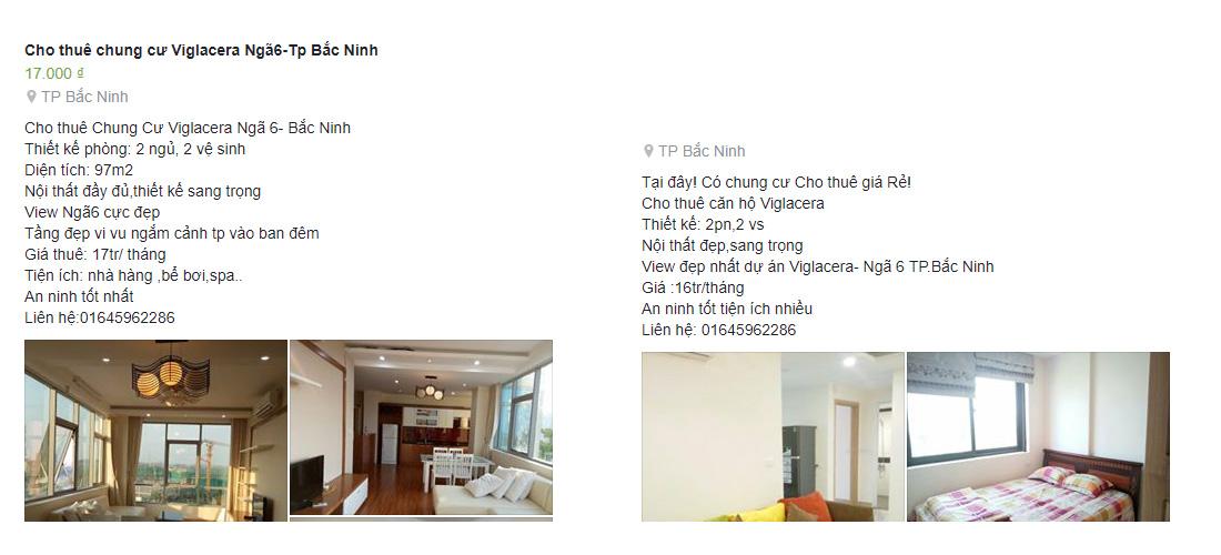 Tin rao cho thuê căn hộ chung cư Viglacera