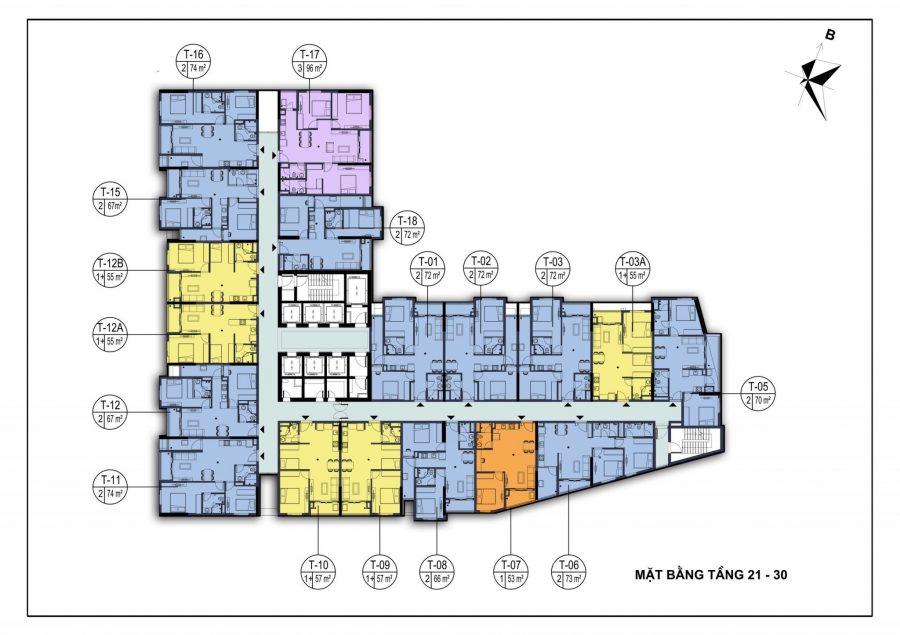 Mặt bằng tầng 21-30 dự án chung cư Dabaco Park View Huyền Quang