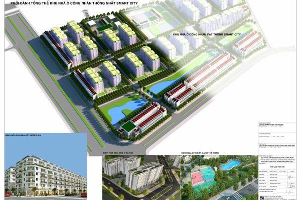 Phối cảnh tổng thể dự án khu nhà ở công nhân Cát Tường Smart City