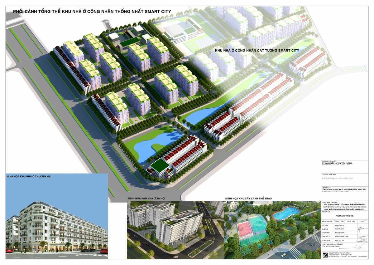Phối cảnh tổng thể dự án khu nhà ở xã hội Cát Tường Yên Phong