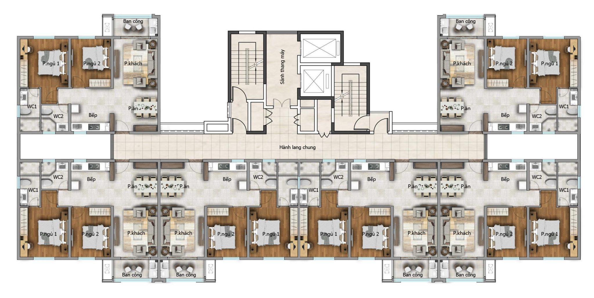 Mặt bằng sàn từ tầng 5 đến 18