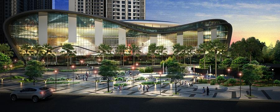 Phối cảnh bên ngoài toà nhà Trung tâm thương mại của Khu đô thị Phúc Ninh trong tương lai