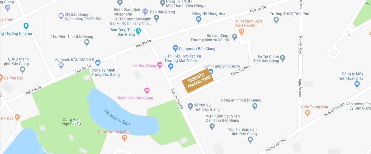 Vị trí dự án Saigontel Central Park Bắc Giang