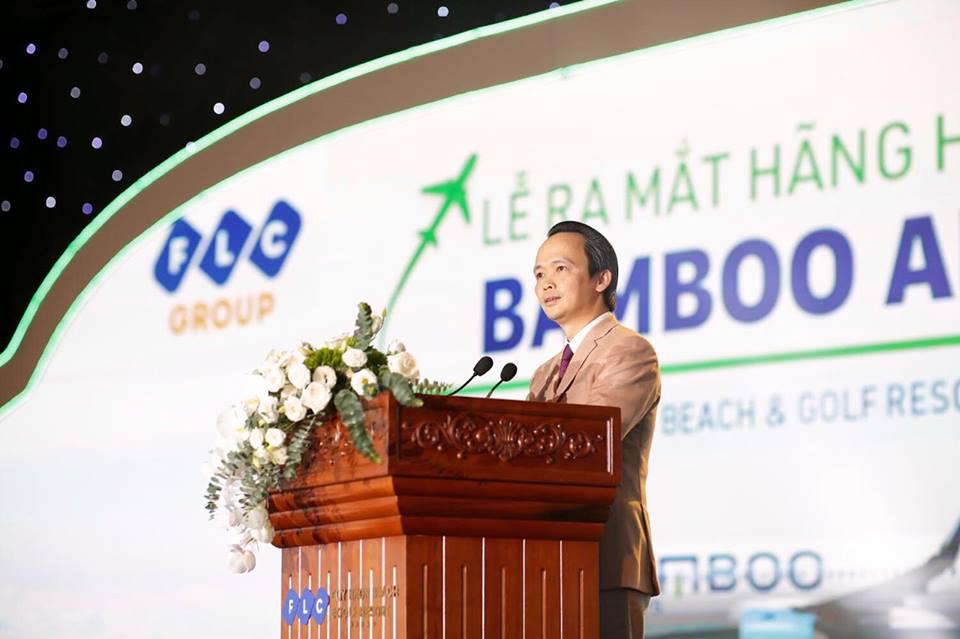 Ông Trịnh Văn Quyết - Chủ tịch Hội đồng quản trị Công ty Cổ phần Tập đoàn FLC phát biểu tại lễ ra mắt hãng hàng không Tre Việt ( Bamboo Airways )
