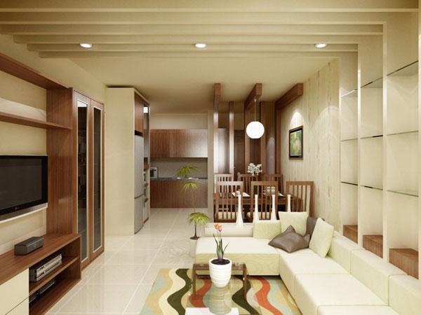 Một số thiết kế phòng khách và phòng bếp nhà ống