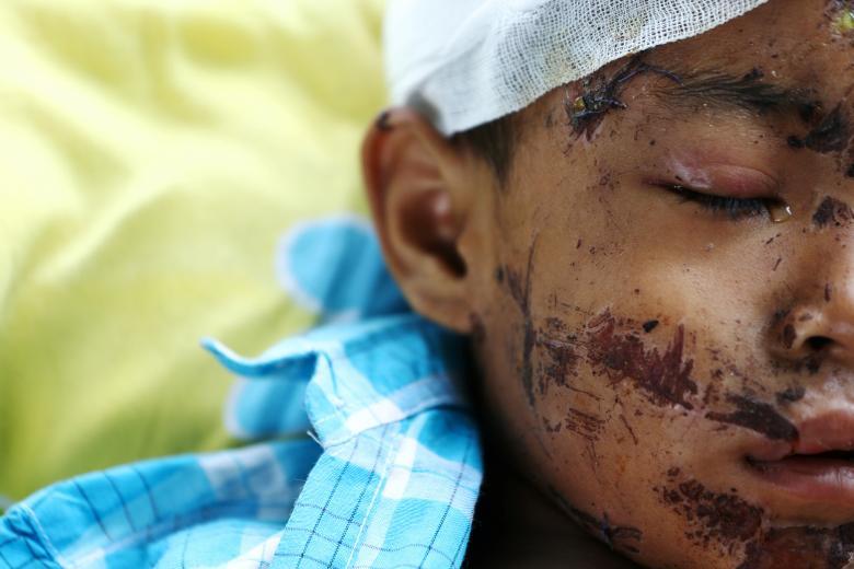 A victim of the earthquake and tsunami
