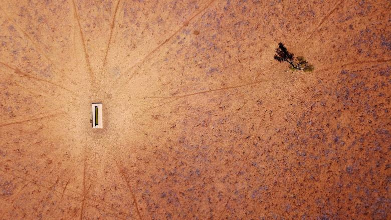 A lone tree stands near a water trough in a drought-affected paddock on Jimmie and May McKeown's property located on the outskirts of town of Walgett, in New South Wales, Australia, July 20