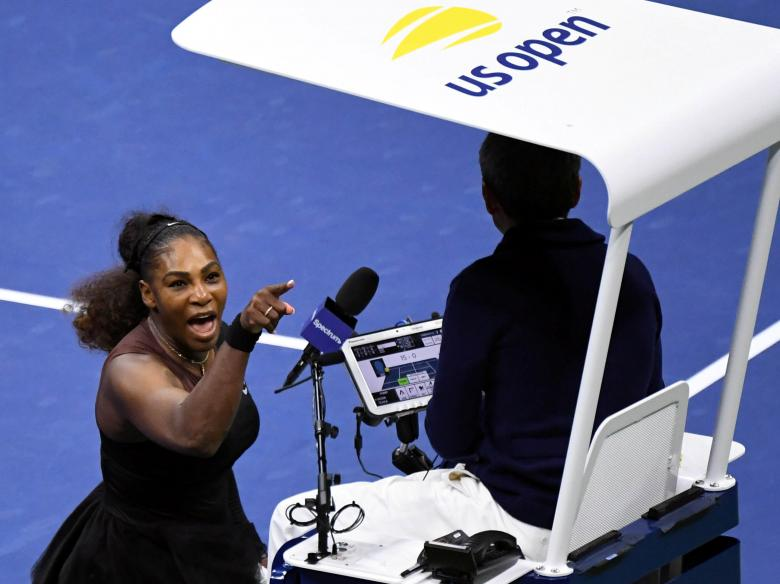 Serena Williams of the U.S. yells at chair umpire Carlos Ramos in the women's final against Naomi Osaka of Japan at the U.S. Open tennis tournament in New York.