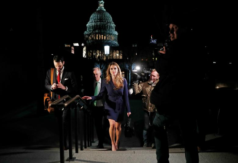 White House Communications Director Hope Hicks leaves the U.S. Capitol after attending the House Intelligence Committee closed door meeting in Washington, February 27.