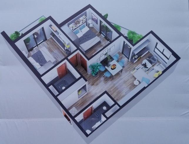 Phối cảnh căn hộ 2 phòng ngủ, 2 vệ sinh diện tích68,8 m2