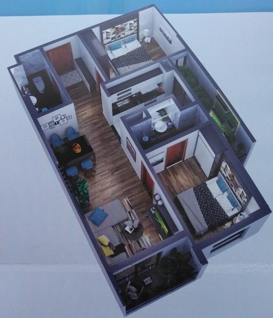 Phối cảnh căn hộ 2 phòng ngủ, 2 vệ sinh diện tích73 m2