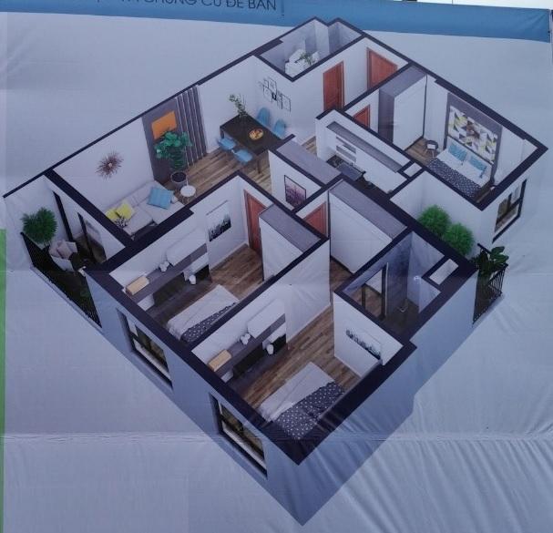 Phối cảnh căn hộ 3 phòng ngủ, 2 vệ sinh diện tích95,4 m2