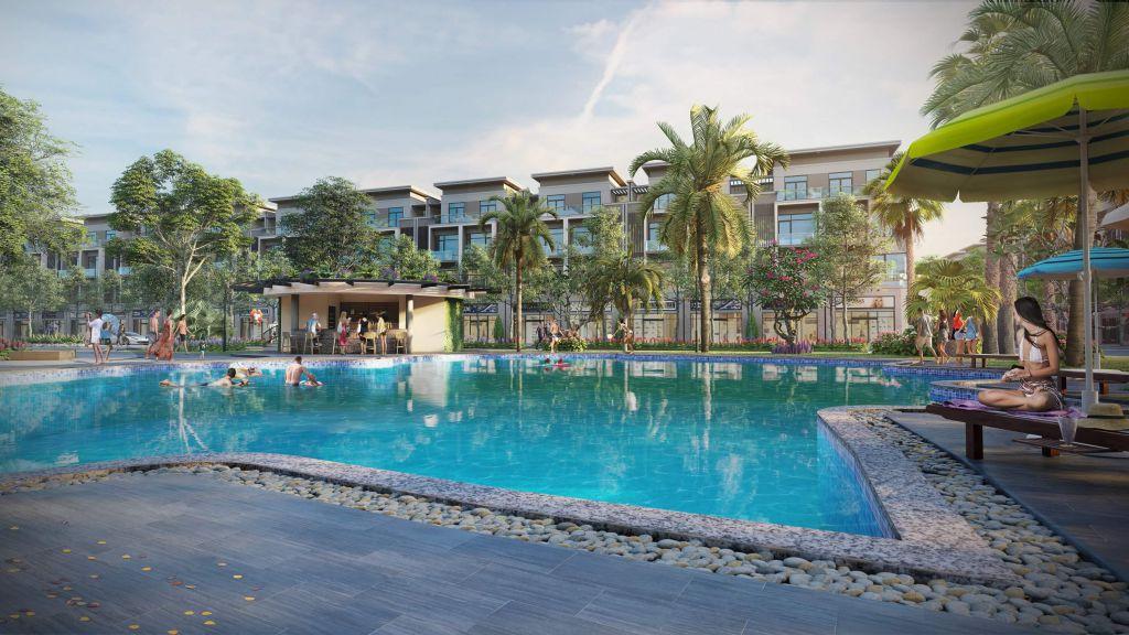 Bể bơi ngoài trời tại dự án Vườn Sen Đồng Kỵ