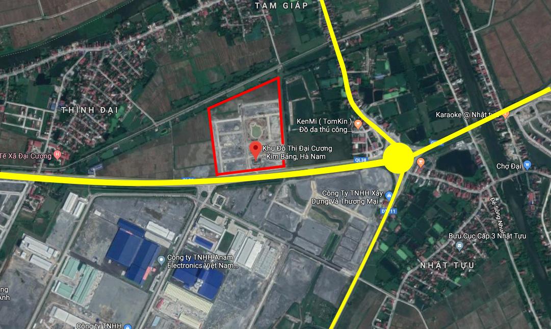 Vị trí dự án khu đô thị Đại Cương, Kim Bảng, Hà Nam