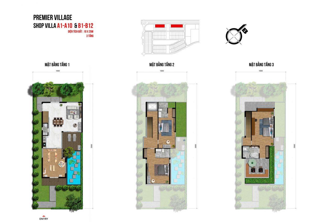 Mặt bằng chi tiết Shop Villa tại Lagoona Bình Châu, Bà Rịa Vũng Tàu