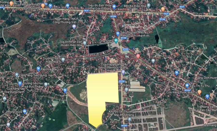 Vị trí dự án TNR Phố Thắng, Hiệp Hòa, Bắc Giang