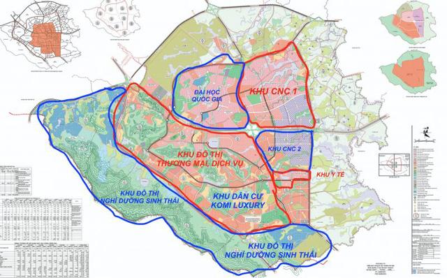 Vị trí các phân khu tại khu đô thị Hòa Lạc